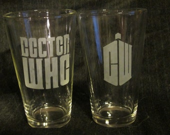 Dr. Who Pint Glass Set of 2
