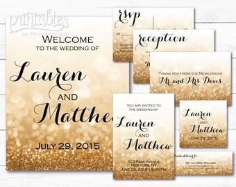 Printable Wedding Invitation Set, Digital Invitation Kits, Glitter Gold Wedding Invitation Suite - RSVP Card, Reception Card, Address Labels