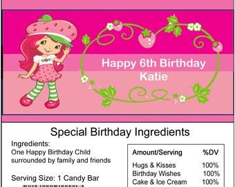 Strawberry Shortcake Personalized birthday Candy Bar Wrapper