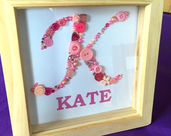 Personalised Elegant button letter with name - framed button letter art - monogram - nursery art