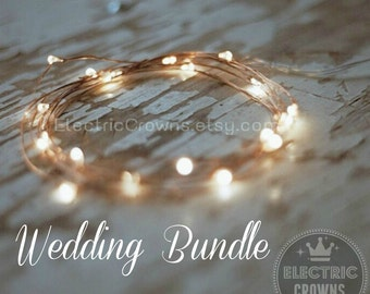 FREE SHIPPING! Rustic Wedding Decor String Lights Rustic Wedding Table Decor Copper Starry Lights Battery Fairy lights 6.6ft Batteries Incl.