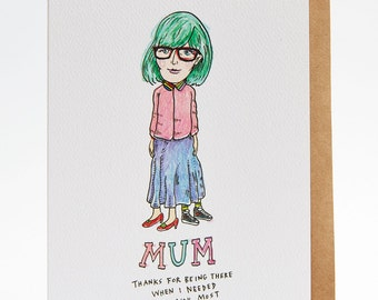 Mother's Day card, funny Mother's Day card, thank you mum card, Mum card, 'Mum's Skirt'