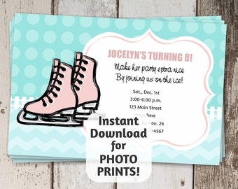 Printable Ice skating Invitation Template for Girls Birthday Party - instant download digital file - photo prints / card stock - pink & teal