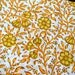 Block Printed cotton fabric, Soft Cotton Fabric inYellow and White Color, Hand Stamped Cotton Fabric sold by yard