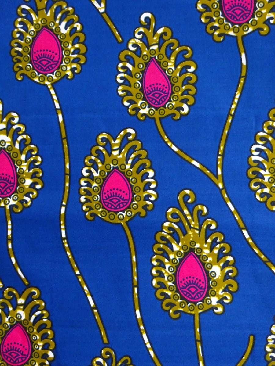 Blue And Pink Floral African Print Fabric By The Yards