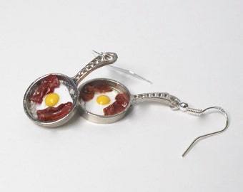 egg and bacon earrings fried egg earrings  mini egg and bacon egg and bacon pan chef gift cooks gift breakfast earrings