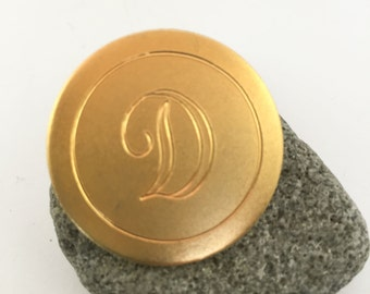 Vintage Gold Plated Monogram D Circle Circular Pin