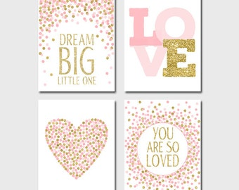 Set of Prints Baby Girl Nursery Prints Dream Big Little One Print You Are So Loved Print Pink Gold Nursery Decor Girl Birthday Decorations