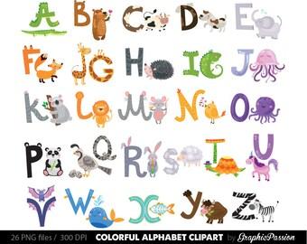 illustrated alphabet clipart color alphabet digital alphabet letters clipart digital letters clip art alphabet clip art