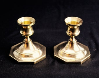 Vintage-Solid Brass Candlesticks with Octagonal Base