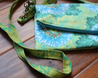 Green and Blue Floral Crossbody Purse