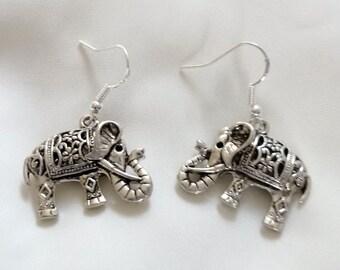 Earrings - Silver Elephant Earrings - Elephant Earrings - Drop Earrings -