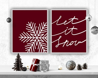 Let it Snow Holiday Decor Christmas Print Snowflake Printable Holiday Print DIY Christmas Snowflake Poster