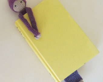 Book Buddy Little Gnome Bookmark - Purple Ombre 2 - Crochet Amigurumi Gift, Toy, Finished Product