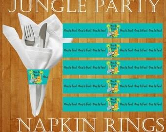 Jungle Party, Jungle Birthday, First Birthday, First Birthday Party, First Birthday Napkin Rings, Jungle Birthday Napkin Rings