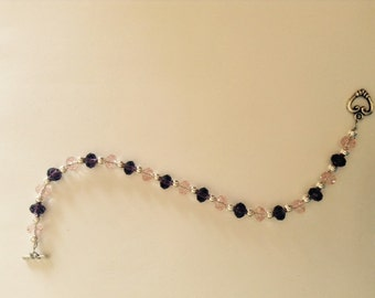 Toggle purple pink and silver beaded bracelet