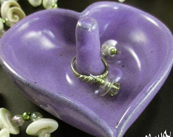 Heart Shaped Pottery Ring Dish Jewelry Holder Bowl | Lavender Purple