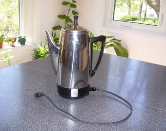 Electric Coffee Percolator Presto Percolator 12 cup ALL PIECES WORKING Vintage
