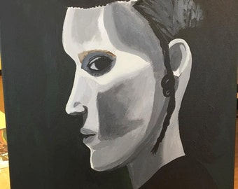 The Girl With the Dragon Tattoo- acrylic painting on 16x20 canvas
