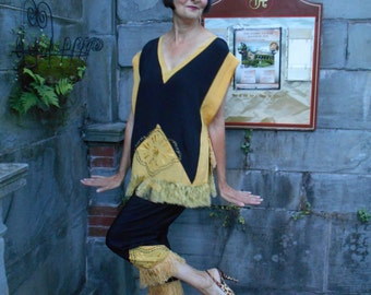 Awesome 1920's Flapper/Great Gatsby Black and Gold Silk Pajamas/Loungewear with Fringe and Tassels