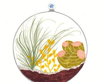 Mini glass terrarium Art print - A4 glicée color - cactus terrarium illustration - botanical drawing