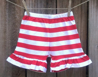 Red Striped Ruffle Shorts