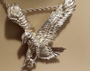 Sterling silver vintage flying eagle pendant with sterling chain