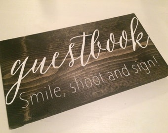 Rustic Wood Wedding Guestbook Sign Hand Painted