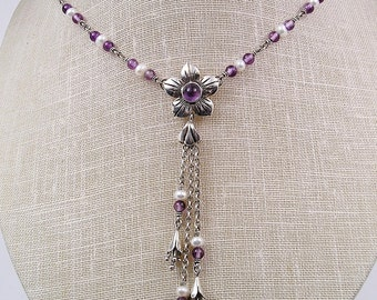 Amethyst and Pearl Gemstone Y-Necklace, with Forget-Me-Not Floral center and Floret Tassel