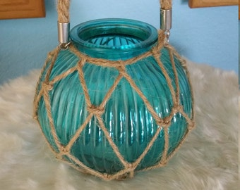 Nautical Seashell Rope Netting Glass Jar by MillerArtCollective