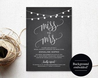 Bridal Shower Invitation, Bridal Shower Invites, Wedding Shower Invitation, Miss to Mrs, Shower Printable, PDF Instant Download #BPB299_12