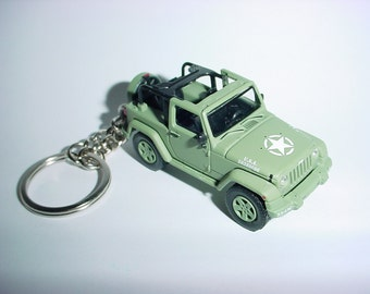 3D 2011 US ARMY Willys Jeep custom keychain by Brian Thornton keyring key chain finished in green color factory trim 4x4 70th anniversary