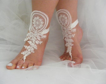 FREE SHIPPING Lace Evening Victorian Barefoot Sandals, Beach Wedding  Barefoot Sandals, Wedding Anklets,Wrist Sandals, Belly Dance, Prom