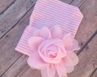 Newborn baby girl hospital hat beanie - pink/white stripes - pink flower - gift dainty girlie shower beenie