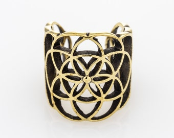 Brass Flower Of Life Ear Cuff.