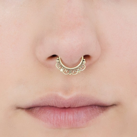 Tribal Septum Ring for pierced nose. septum piercing. brass septum ring. tribal septum ring. septum jewelry. brass septum. tiny earring.