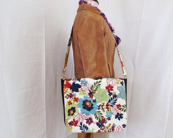 Floral and Denim Messenger Bag