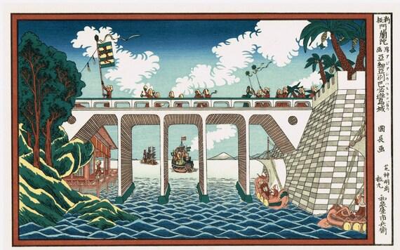 "Japanese Ukiyo-e Woodblock print, Utagawa Kuninaga, ""The City of Babylon in Asia"""
