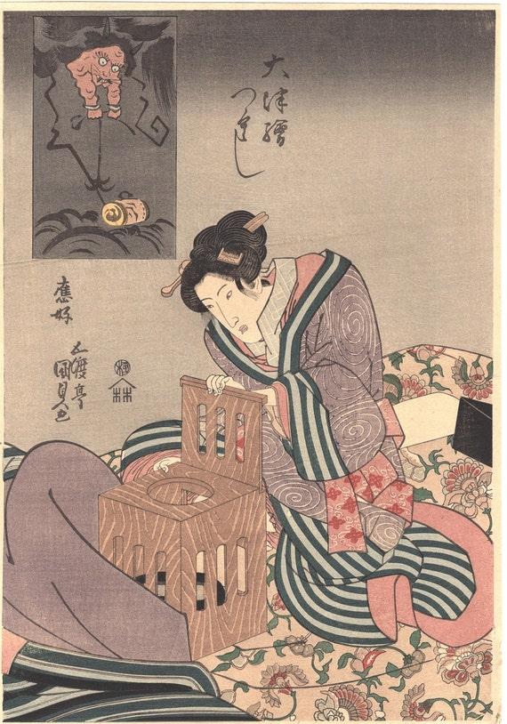 "Japanese Ukiyo-e Woodblock print, Kunisada, ""Otsu-e Mitate Bijin"""