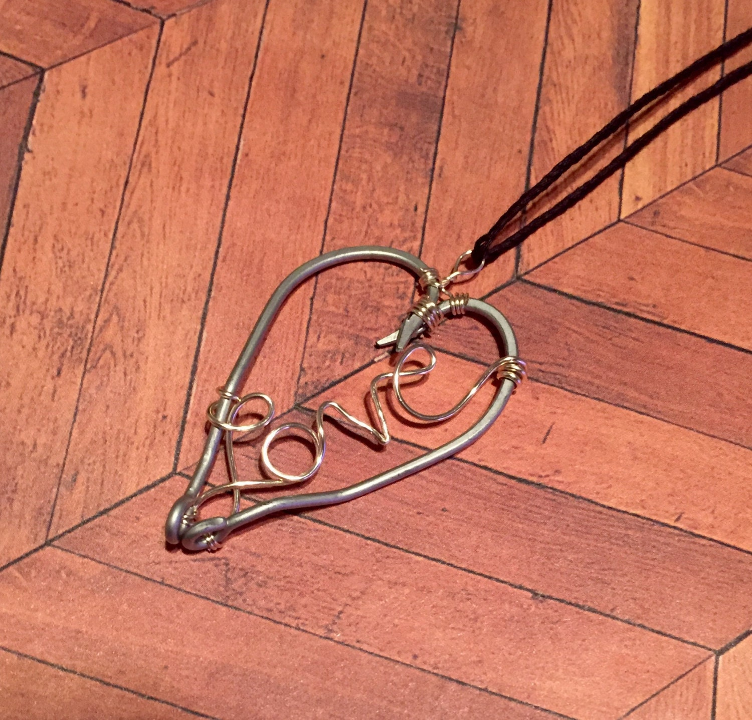 Fishing hook necklaceheart necklace love necklace heart for Fishing hook necklace