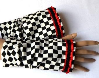 fingerless gloves, arm warmers, fingerless mittens,chessboard sample