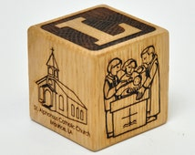 Custom Personalized Baby Baptism Gift Wooden Block Nursery Decoration Religious Christening Gift Dedication Religious Ceremony Baptism