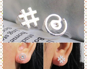 Tiny @ # Sign Clip on Earring, C41s, IT Computer at Hashtag Number Sign Symbol Invisible Clip on stud earring, Silver Non Pierced earring