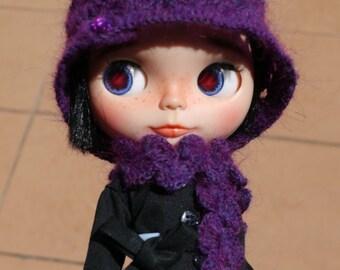 crochet hat & scarf set for blythe