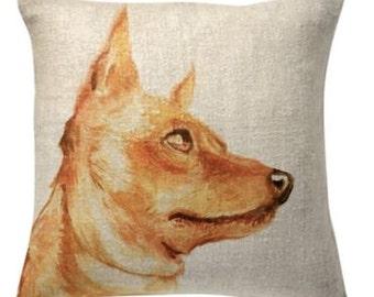 Painted Dog Portrait Pillow
