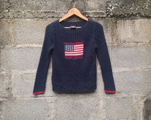 Vintage Polo Jeans Company by Ralph Lauren sweatshirt sweater, dark blue color, crew neck knitwear, made in Indonesia, M size