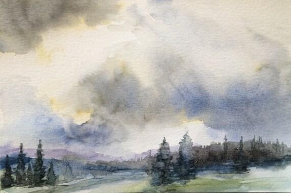 Pacific Northwest art, cloud painting, pine trees, Landscape watercolor, storm clouds, storm cloud art, misty trees, Pacific Northwest