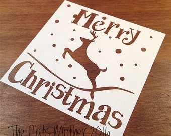 Merry Christmas Themed Paper Cutting Template - Commercial Use