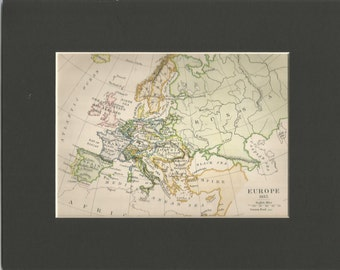 vintage  historical small colour  map europe 1815  by c colbeck 1898 vintage map wall decor
