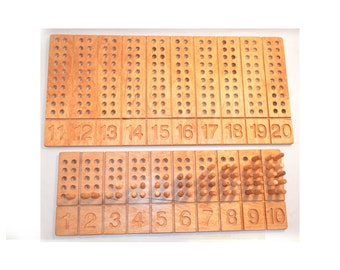 Numerical boards for children. For the Montessori system.